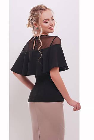 Летняя черная блузка с сетчатой вставкой и драпировкой-воланом Сонья б/р, фото 2