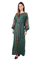 Вишите лляне довге зелене плаття з машинною вишивкою, фото 1