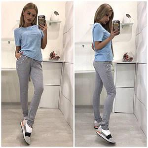 Женские стильные летний спортивные брюки с бусинками