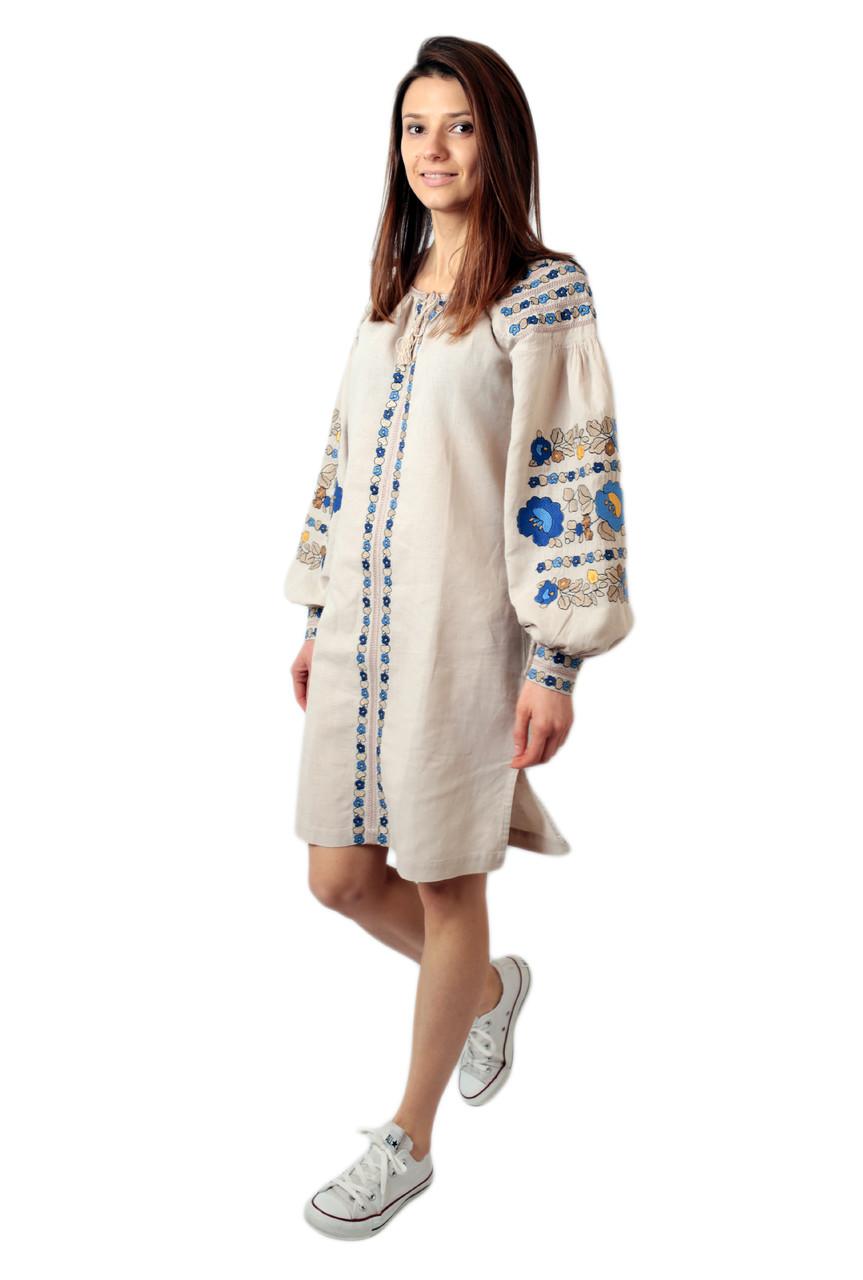 Вишите лляне бежеве плаття з машинною вишивкою