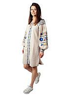 Вишите лляне бежеве плаття з машинною вишивкою, фото 1