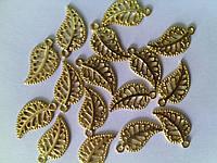 Фурнитура металлическая Листик золото 18мм 160144