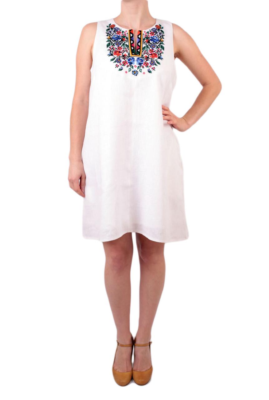 Вишите літнє лляне біле плаття/сарафан з машинною вишивкою