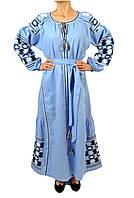 Вишите лляне довге блакитне плаття з машинною вишивкою, фото 1