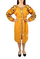 Вишите лляне жовте плаття з машинною вишивкою