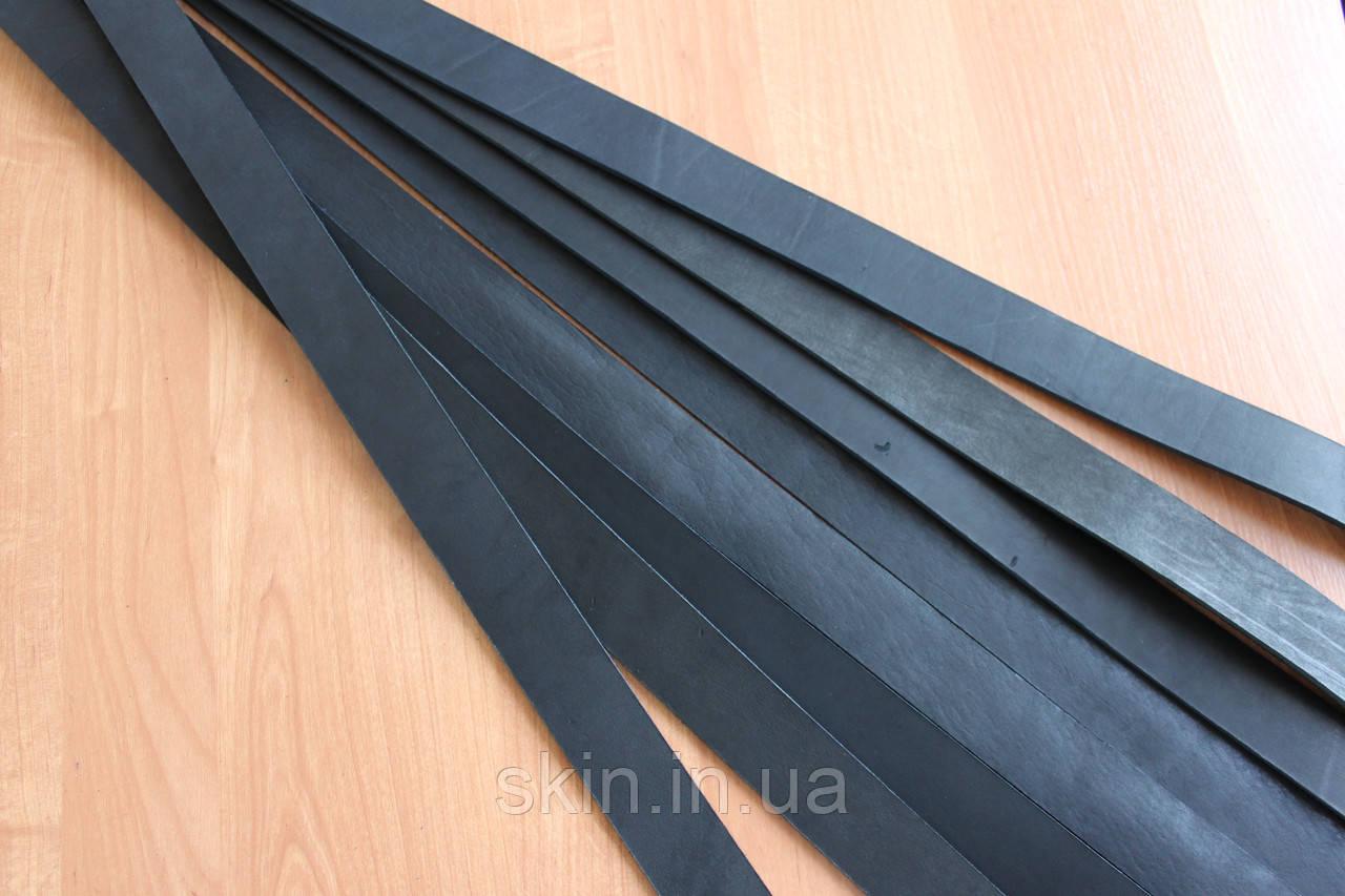 Уцененная полоса кожи хромового дубления черного цвета, ширина - 38 мм, толщина 3.5 мм, арт. СК 1609 уценка