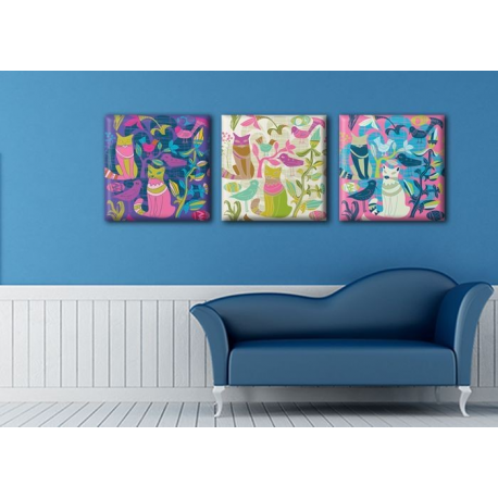 Модульная картина на холсте Триптих Cats