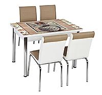 """Раскладной стол обеденный кухонный комплект стол и стулья 3D рисунок 3д """"Ваза"""" ДСП стекло 70*110 Лотос-М, фото 1"""