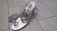 Женские шлепанцы на каблуке со стразами 36, 36, 38, 38, 39, фото 1