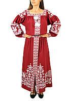 Вишите лляне довге червоне плаття з машинною вишивкою, фото 1