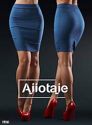 Облегающяя деловая джинсовая юбка-карандаш с эффектом утяжки