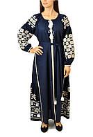 Вишите лляне довге синє плаття з машинною вишивкою, фото 1