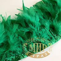 Тесьма перьевая из перьев индюка, цвет Green, цена за 0.5м