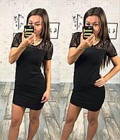 Элегантное коктейльное платье мини с гипюром по плечам