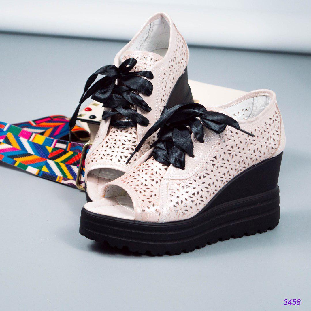 Женские летние босоножки на шнуровке с перфорацией..Цвет-пудра.Натуральная  кожа  05e9053ab3a