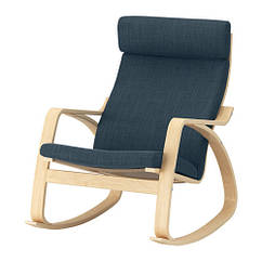 Кресло-качалка IKEA POÄNG березовый шпон Hillared гранатовый 192.010.51