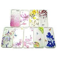 Прозрачный чехол c рисунком и камнями iPhone 5 5S SE Fashion (Айфон 5 5С СЕ)