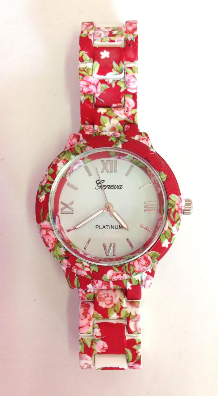 Женские часы Geneva, кварцевые красные