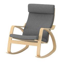 Кресло-качалка IKEA POÄNG березовый шпон Lysed серый 292.444.13