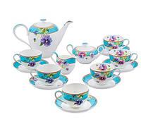 """Чайный сервиз на 6 персон """"Виола"""" (Viola Pavone) из костяного фарфора 15 пр-в"""