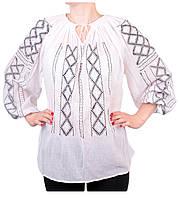 Жіноча вишита сорочка/блузка марльовка з сіро-чорним орнаментом, фото 1