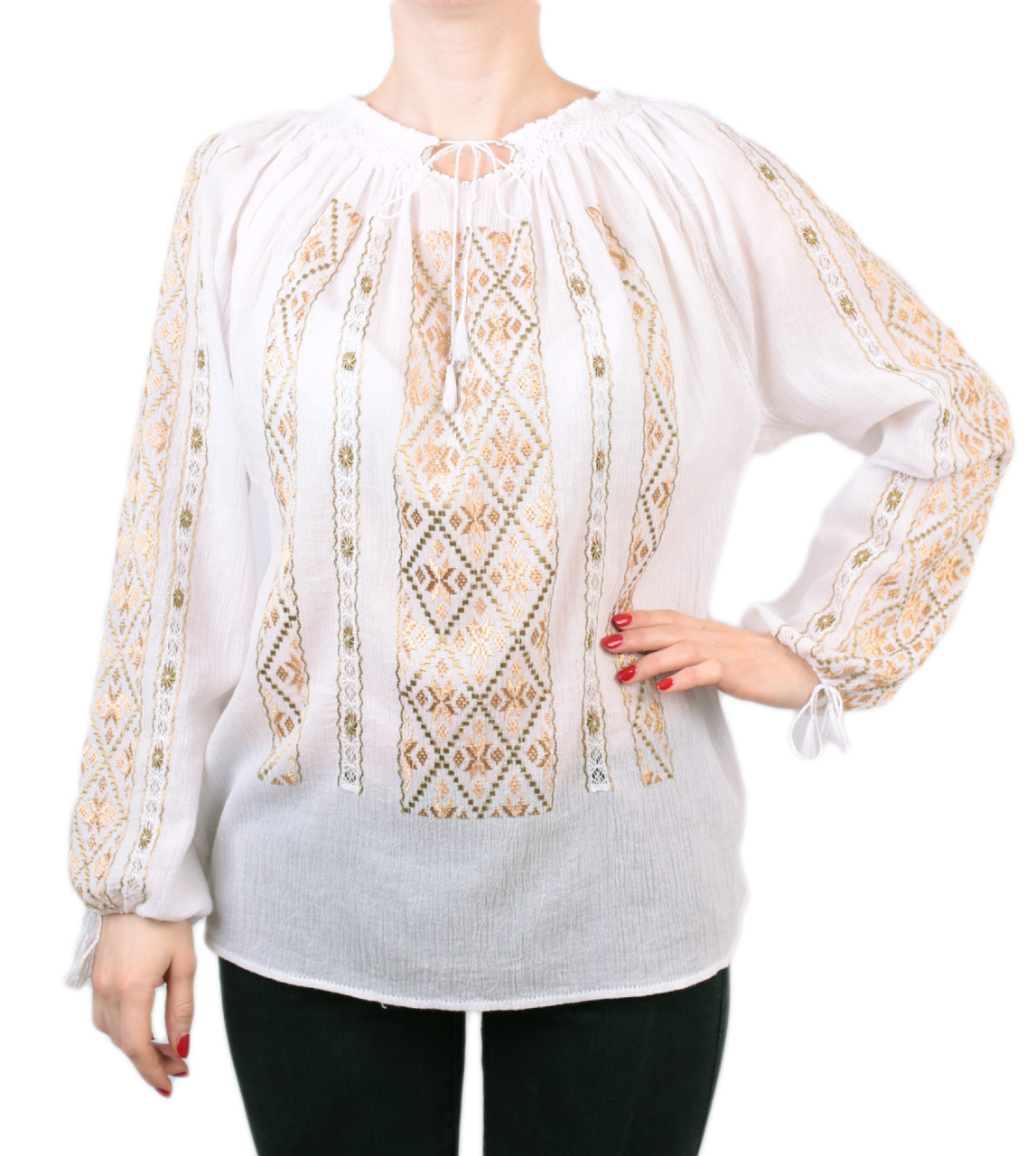 Жіноча вишита сорочка/блузка марльовка з золотистим орнаментом