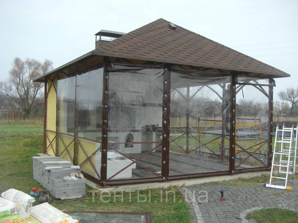 Прозорі штори ПВХ для альтанки літньої кухні