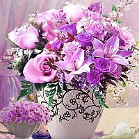 Алмазная вышивка Цветы фиолетовые в вазе 30*40 круглые алмазы,  полное заполнение