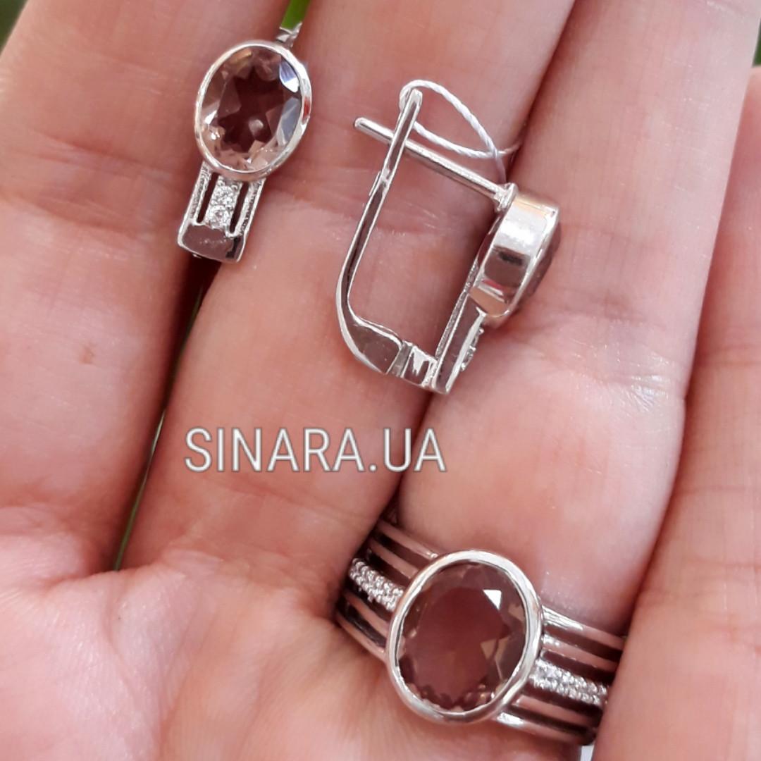 Серебряный комплект с султанитом: кольцо и серьги с султанитом