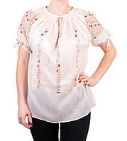 Жіноча вишита сорочка/блузка марльовка з червоним орнаментом на короткий рукав, фото 1