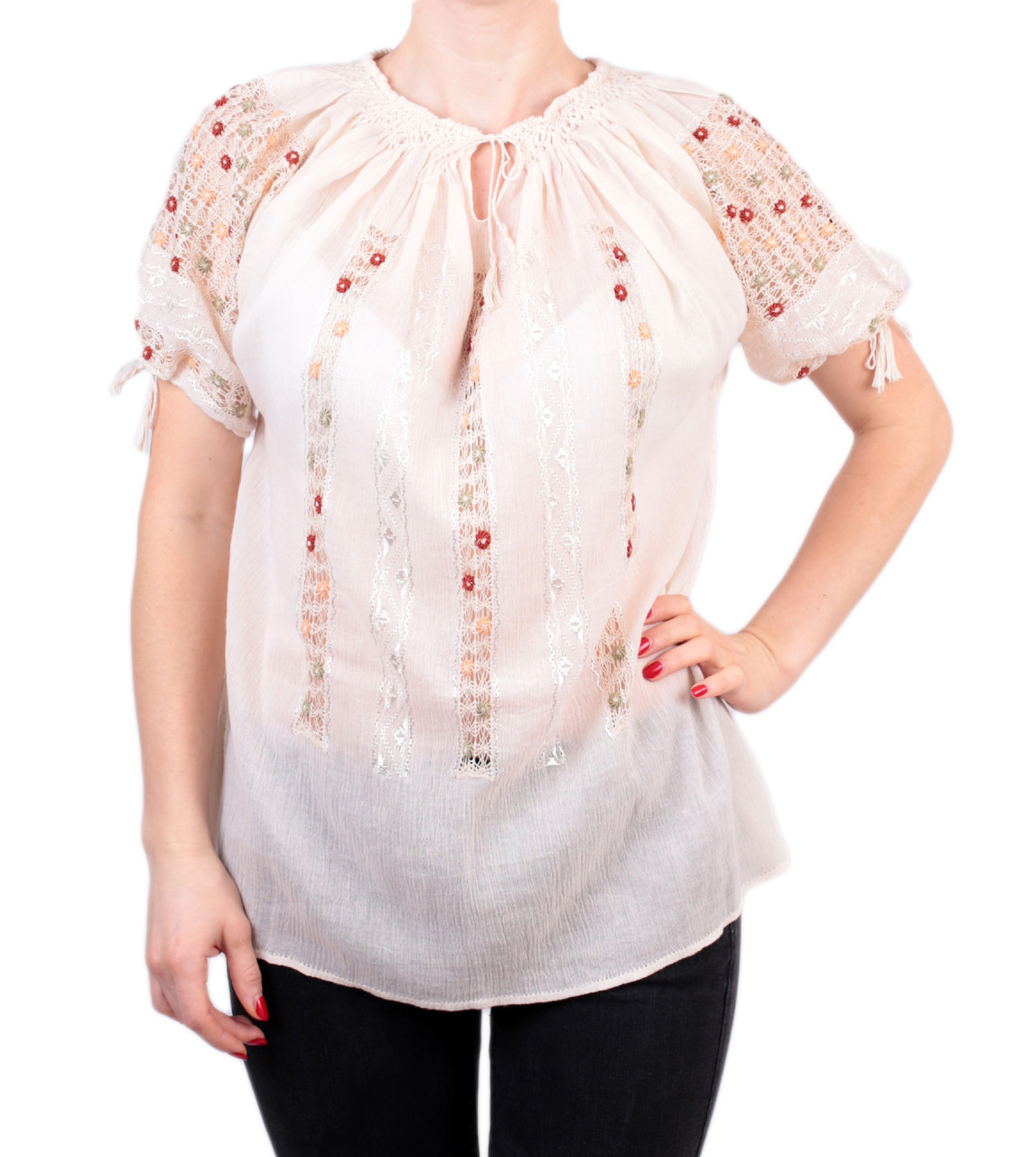 Жіноча вишита сорочка/блузка марльовка з червоним орнаментом на короткий рукав