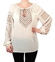 f024f947bf8 Жіноча шифонова блузка бежевого кольору з етнічним орнаментом недорого