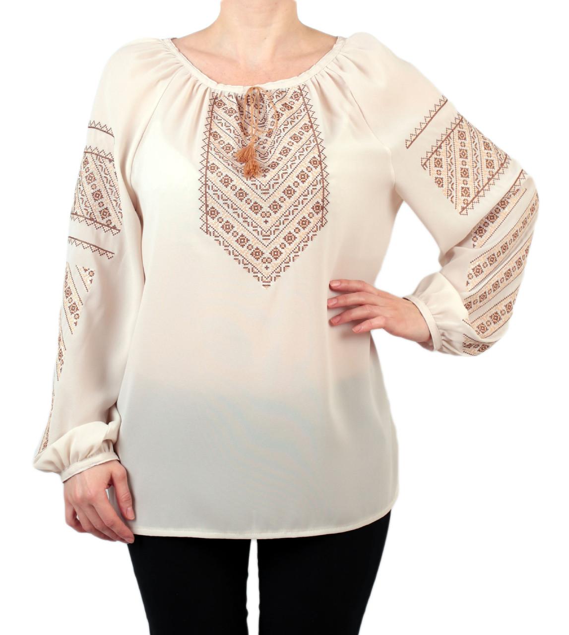 701320d80bf Жіноча шифонова блузка бежевого кольору з етнічним орнаментом недорого -  Інтернет-магазин вишиванок для всієї