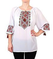 Жіноча шифонова блузка білого кольору з етнічним орнаментом недорого, фото 1