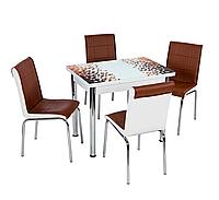 """Розкладний стіл обідній кухонний комплект стіл і стільці 3D малюнок 3д """"Коричнева мозаїка"""" ДСП скло 60*90 Лотос-М"""