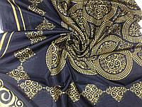 Чёрно желтое  парео-платок с золотистым орнаментом, фото 1