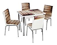 """Розкладний стіл обідній кухонний комплект стіл і стільці 3D малюнок 3д """"Букет на дошках"""" ДСП скло 60*90 Лотос-М"""