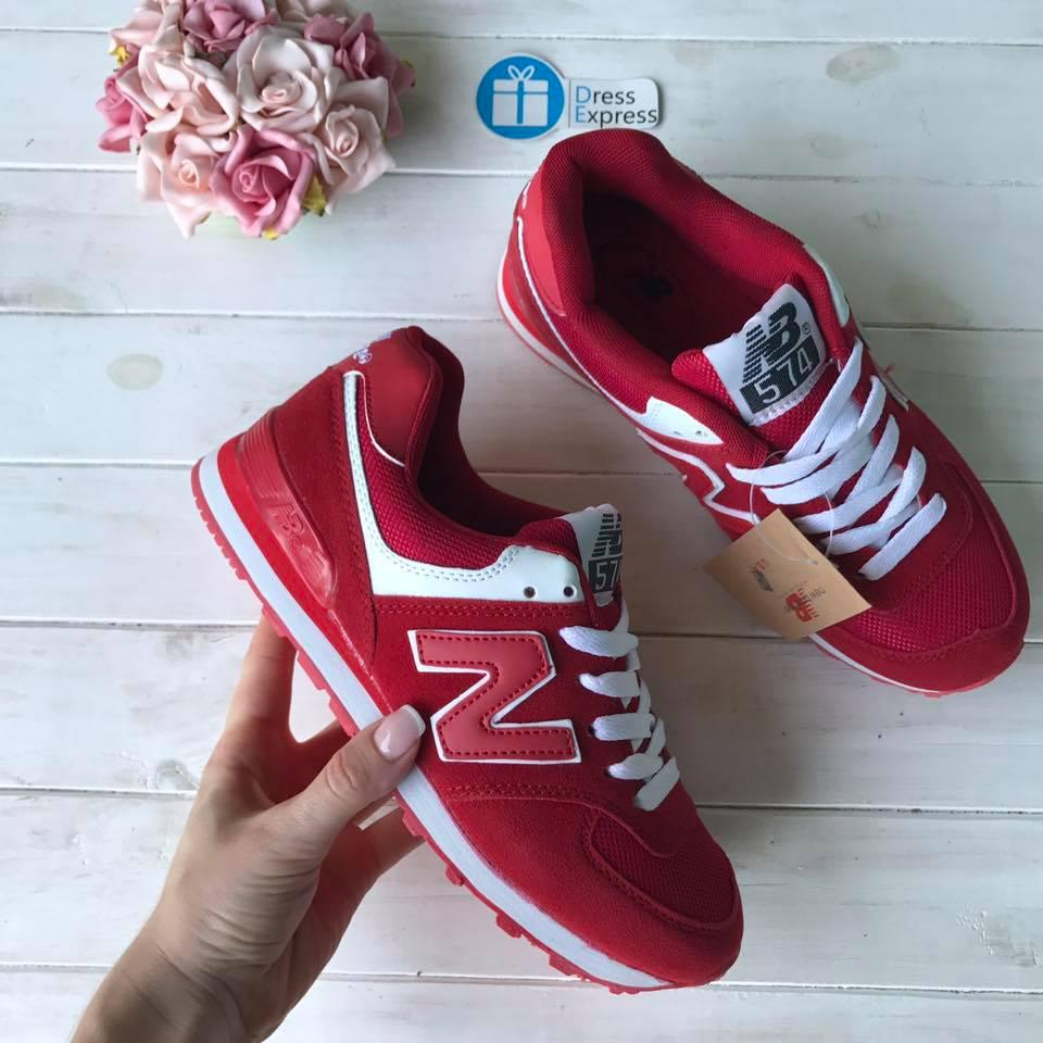 Женские кроссовки New Balance 574 красные эко-замша  продажа 5dec4a650f037