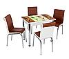 """Раскладной стол обеденный кухонный комплект стол и стулья 3D рисунок 3д """"4 тюльпана"""" ДСП стекло 60*90 Лотос-М"""