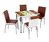 """Розкладний стіл обідній кухонний комплект стіл і стільці 3D малюнок 3д """"4 тюльпани"""" ДСП скло 60*90 Лотос-М"""