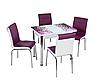 """Раскладной стол обеденный кухонный комплект стол и стулья рисунок 3д """"Фиолетовая мозаика"""" стекло 60*90 Лотос-М"""