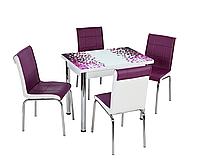 """Розкладний стіл обідній кухонний комплект стіл і стільці 3D малюнок 3д """"Фіолетова мозаїка"""" ДСП скло 60*90 Лотос-М"""