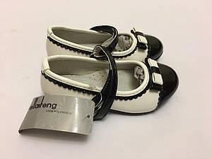 Туфли для девочки белые с черной вставкой