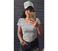 Молодіжна жіноча футболка-тільняшка, фото 1