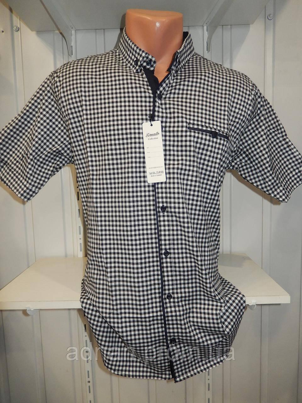 Рубашка мужская  CROM стрейч котон, полу-батал мелкая клетка 001 \ купить рубашку оптом.