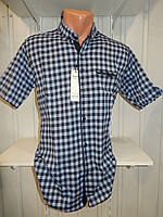 Рубашка мужская  CROM стрейч котон, полу-батал клетка 003 \ купить рубашку оптом.