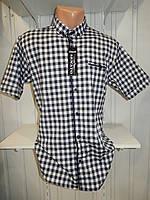 Рубашка мужская  CROM стрейч котон, полу-батал клетка 004 \ купить рубашку оптом.
