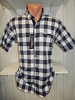 Рубашка мужская  CROM стрейч котон, полу-батал крупная клетка 002 \ купить рубашку оптом.
