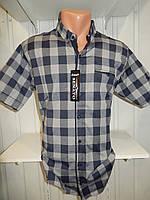 Рубашка мужская  CROM стрейч котон, полу-батал крупная клетка 004 \ купить рубашку оптом.