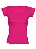 Футболка женская цветная для сублимации, термоперенос (флекс-пленка), размер M, цвет розовый